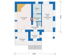 Проект дома с мансардой план 1 этажа