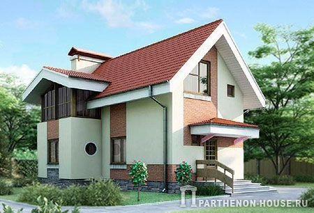 Проект дома с камином и верандой КА 75-10