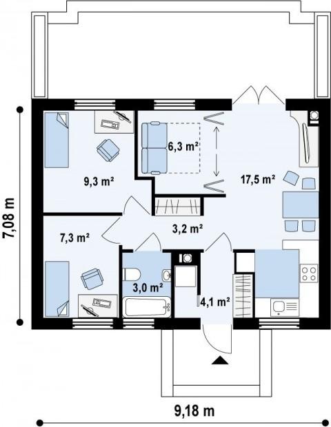 Одноэтажный дом с крыльцом план первого этажа