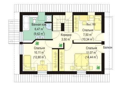 Мансардный жилой дом с гаражом 96,5 план первого этажа план второго этажа