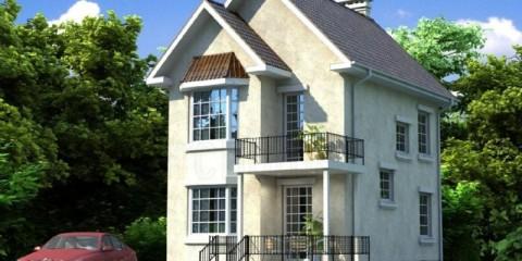 Двухэтажный жилой дом с эркером и балконом