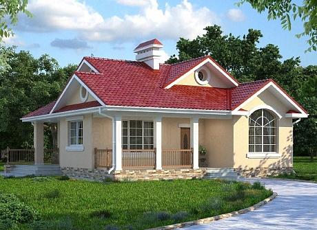 Одноэтажный жилой дом с верандой АС-07-А