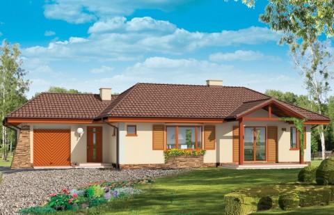 Одноэтажный трехкомнатный жилой дом с гаражом АС-09-А