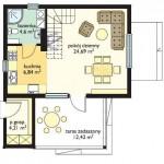 Дачный двухкомнатный дом с верандой план 1 этажа