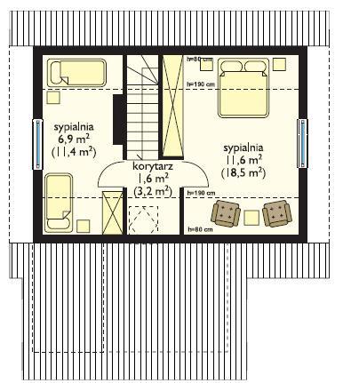 Дачный двухкомнатный дом с верандой план 2 этажа