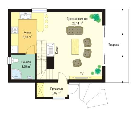 Дачный дом с балконом 1 этаж