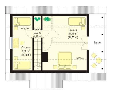 Дачный дом с балконом 2 этаж