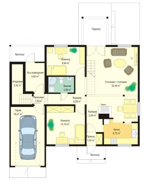 Дачный дом с гаражом ac-34-a план