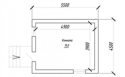План первого этажа 19 кв м
