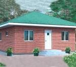 Дачный дом с вальмовой крышей общей площадью 44 кв.м