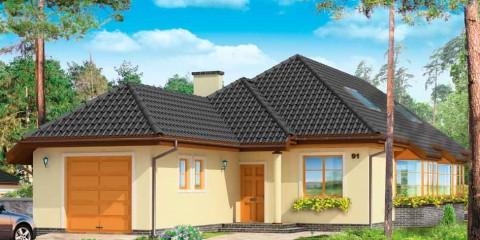 Мансардный дом с гаражом и большой гостинной